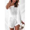 Stylish Womens Solid Color Single Bat Sleeve Oblique Shoulder Knit Loose Sweater & Relaxed Shorts Co-ords