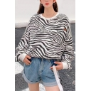Pop Zebra Stripe Pattern Crew Neck Long Sleeve Oversized Pullover Sweatshirt