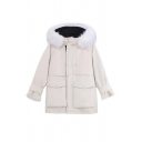 Womens Fashionable Plain Fur Trimmed Hood Long Sleeve Flap Pocket Zip Placket Tunic Parka Down Coat