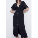 Casual Button Front Bow Belted Turn Up Sleeve V-Neck Split Front Midi Wrap Dress