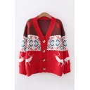 Popular Womens Deer Floral Printed Long Sleeve V-neck Button Up Knitted Loose Fit Cardigan