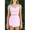 Pretty Ladies Checkered Print Spaghetti Straps V-neck Tied Back Fit Crop Cami & Mini Wrap Skirt Set in Pink