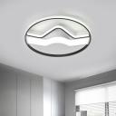 Circle Flush Mount Light Modern Aluminum LED Black Flush Ceiling Mounted Fixture, 16