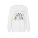 Fancy Cat Printed Long Sleeve Crew Neck Loose Fit Pullover Sweatshirt in White
