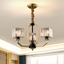 Modernity 3/6/8 Heads Chandelier Brass Finish Rectangle Pendant Lighting Fixture with Beveled Crystal Shade