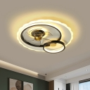 Metallic Circular Hanging Fan Light Modern 19.5