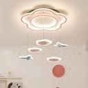 Flower Girls Bedroom Pendant Lighting Acrylic LED Kids Hanging Light Fixture in Pink