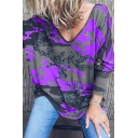 Popular Womens Tie Dye Printed Long Sleeve V-neck Loose Fit Tee Top