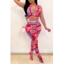 Womens Sexy Cool Letter Graffiti Knotted Crop Bandeau Top with Slim Pants Mesh Two-Piece Set
