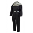 Popular Guys Long Sleeve Stand Collar Zip Up Belted Long Straight Black Jumpsuit with Scarf