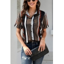 Chic Stripe Prnted Rolled Short Sleeve Spread Collar Button Up Loose Fit Shirt