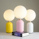 White Glass Ball Task Lighting Macaron 1-Light Night Lamp with Oval Base in Grey/White/Pink