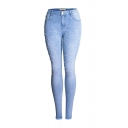 Light Blue New Stylish Beading Embellished Stretch Fit Slim Fit Jeans for Women