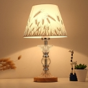 Barrel Fabric Nightstand Light Classic 1 Head Bedroom Night Lamp in Chrome with Crystal Base