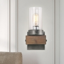 1/2-Bulb Cylinder Wall Mount Light Cottage Brown Transparent Glass Wall Sconce for Restaurant