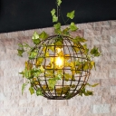 Industrial Globe Cage Ceiling Hang Fixture 1 Bulb Iron Pendulum Light in Black with Simulated Plant Deco