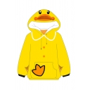 Cute Duck Printed Long Sleeve Drawstring Kangaroo Pocket Loose Fit Hoodie in Yellow