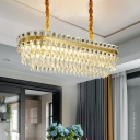 LED Hanging Light Modern 2-Layered Oblong Clear Crystal Island Pendant in Gold over Dining Table