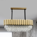 Clear Crystal Prism Layers Pendant Lamp Postmodern 10-Head Dining Table Island Ceiling Light in Gold
