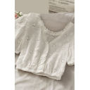 Novelty Girls Solid Color Crochet Embroidery Cut Out Pleated Button Down Ruffle Trim Short Puff Sleeve V Neck Slim Fit Crop Blouse