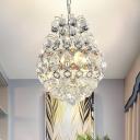 Modern Stylish Teardrop Pendant Lamp 3 Bulbs Clear Crystal Chandelier Light Fixture