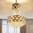 3/8-Head Empire Pendant Chandelier Modern Style Gold Crystal Hanging Ceiling Light