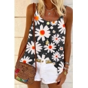 Fashionable Womens All over Daisy Floral Printed Pleated Open Back U-Shaped Collar Spaghetti Straps Sleeveless Loose Fit Peplum Cami Top
