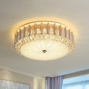Clear Beveled Glass Drum Flushmount Lighting Contemporary LED Ceiling Mount Light Fixture for Bedroom