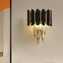 2 Heads Bedroom Wall Mount Lamp Contemporary Style Black Sconce with Tiered Crystal Block Shade