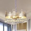 Metal Gold Pendant Light Crown Shaped 6 Bulbs Modernist Chandelier with Crystal Fringe