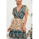 Holiday Womens Allover Floral Printed Short Sleeve Surplice Neck Tied Waist Short A-line Dress in Pink