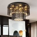 Crystal Rod Black Flush Light 2-Tier Drum Shaped Modern LED Ceiling Flushmount Lamp, 19.5
