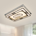 Crystal LED Ceiling Light Fixture Contemporary Nickel Rectangular Living Room Flush Mounted Lamp