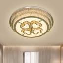 Tiered Round Crystal Flush Light Modern Stylish Corridor LED Ceiling Flushmount Lamp in Nickel