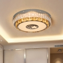LED Crystal Flush Mount Lamp Modern Stainless Steel Drum Bedroom Close to Ceiling Light