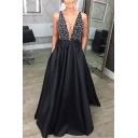 Glamorous Womens Sequin Embellished Hollow Out Open Back Deep V Neck Sleeveless Long Fit&Flare Gown Evening Dress in Black