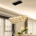 Inlaid Crystal Clear Island Pendant Tiered Oblong Modernist LED Hanging Lamp in Chrome over Table