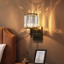 Black Cylinder Wall Light Sconce Modern Rectangle Crystal 1-Bulb Wall Mount Lamp with Candle Design
