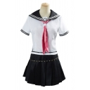 Fashionable Girls Striped Short Sleeve Sailor Collar Tie Regular Fit Tee & Strap Decoration Mini Pleated Skirt Set in White