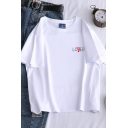 Trendy Letter Lover Loser Printed Short Sleeve Crew Neck Relaxed Fit T Shirt for Girls