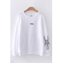Lovely Letter To You Embroidered Rabbit Pattern Long Sleeve Round Neck Loose Fit Pullover Sweatshirt