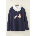 Leisure Cartoon Girl and Cat Printed Long Sleeve Polo Collar Patchwork Loose Fit Pullover Sweatshirt