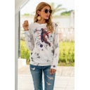 Basic Girls Letter Nasa Space Cartoon Graphic Tie Dye Long Sleeve Crew Neck Regular Fit T-shirt