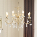 8/10-Bulb Scroll Arms Chandelier Classic Style Gold Metal Candle Pendulum Light with Crystal Droplets