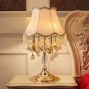 Paneled Bell Fabric Night Table Lamp Classic 4 Heads Bedside Nightstand Lighting in Gold with Crystal Accent