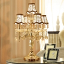 Gold Paneled Bell Night Lighting Vintage Fabric 5 Lights Bedside Nightstand Lamp with Crystal Drop