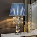 Crystal Strand Cone/Scalloped Table Lamp Country 1 Light Bedside Nightstand Lighting with Beige/Sky Blue/Burgundy Fabric Shade