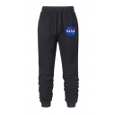 Leisure Guys Letter Nasa Printed Striped Side Drawstring Waist Cuffed Ankle Fit Sweatpants