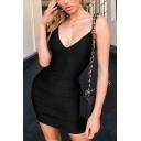 Womens Sexy Night Club Plunge V Neck Solid Color Bodycon Mini Slip Dress