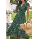 Gorgeous Ladies Ditsy Floral Printed Butterfly Sleeve Surplice Neck Tied Waist Maxi Wrap Dress in Green